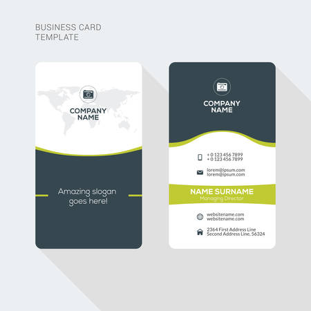 modern creative and clean two sided business card template flat