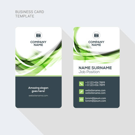 vertical: Modern Creative and Clean Two Sided Business Card Template. Flat Style Vector Illustration. Vertical Visiting or Business Card Template. Stationery Design Illustration