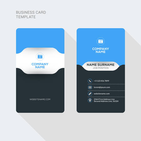 Plantilla de impresión creativa y la tarjeta limpia de negocios del vector. Plantilla vertical de la tarjeta de visita. Ilustración del vector del estilo plana. Diseño de papelería