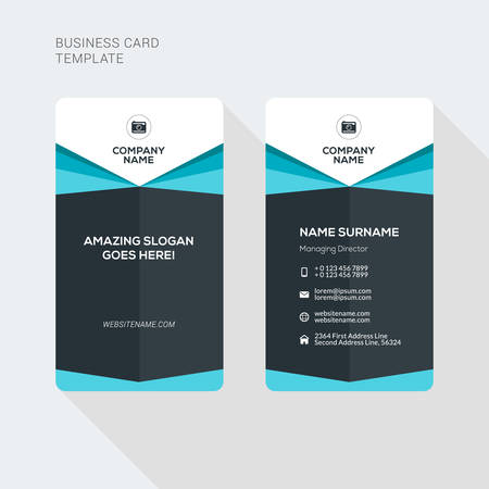 Modern creative and clean two sided business card template flat modern creative and clean two sided business card template flat style vector illustration vertical reheart Gallery