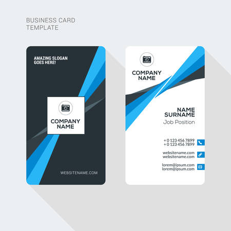 business card template: Modern Creative and Clean Two Sided Business Card Template. Flat Style Vector Illustration. Vertical Visiting or Business Card Template. Stationery Design Illustration