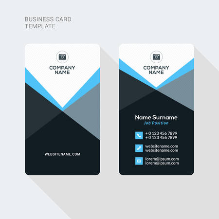 official: Modern Creative and Clean Two Sided Business Card Template. Flat Style Vector Illustration. Vertical Visiting or Business Card Template. Stationery Design Illustration
