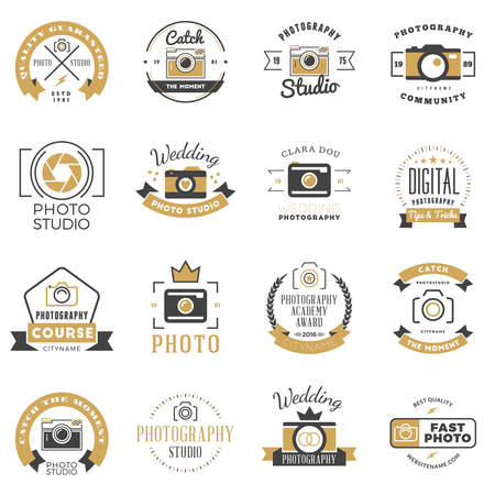 wedding photography: Set of Photography Design Templates. Photography Retro Badges and Labels. Black and Golden Colors. Wedding Photography. Photo Studio. Camera Shop. Photography Community