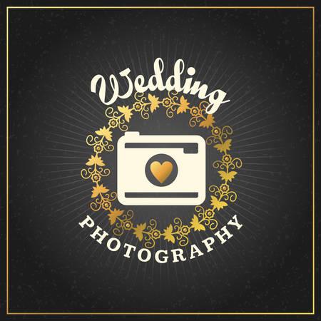 wedding photography: Photography Design Template. Photography Retro Golden Badge. Wedding Photography Illustration