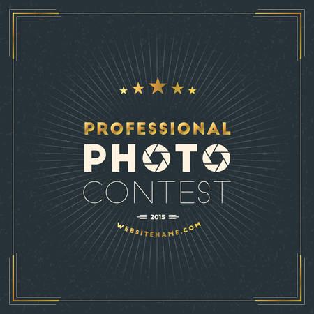 Photography Design Template. Photography Retro Golden Badge. Professional Photo Contest Illustration