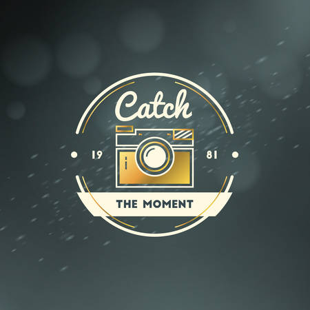 Photography Logo Design Template. Photography Retro Golden Badge. Wedding Photography. Photo Studio. Camera Shop. Photography Community
