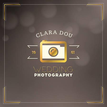 wedding photography: Photography Design Template. Photography Retro Golden Badge. Wedding Photography. Photo Studio Illustration