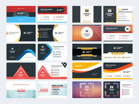 Set of Creative and Clean Corporate Business Card Print Templates. Flat Style Vector Illustration. Stationery Design