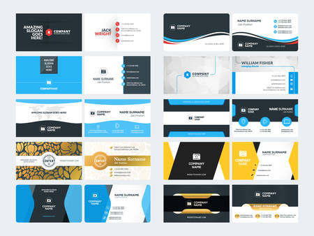 Set of Creative and Clean Corporate Business Card Print Templates. Flat Style Vector Illustration. Stationery Design 免版税图像 - 53195955