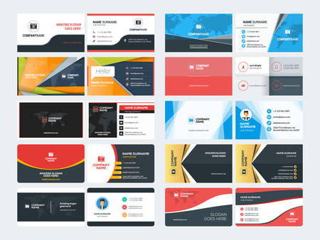 Set of Creative and Clean Corporate Business Card Print Templates. Flat Style Vector Illustration. Stationery Design Фото со стока - 53196010