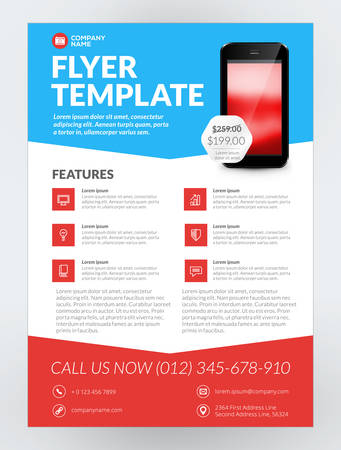 application: Vector Business Flyer Design Template for Mobile Application or New Smartphone. Vector Brochure Design Layout Template. Red and Blue Colors