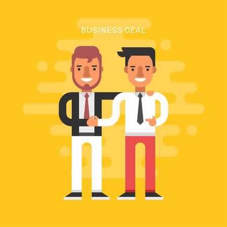 성공적인 파트너십의 평면 디자인 스타일 벡터 일러스트 레이 션 개념입니다. 비즈니스 사람들이 협력 협정, 비즈니스 거래와 격리 된 두 사업가 악수
