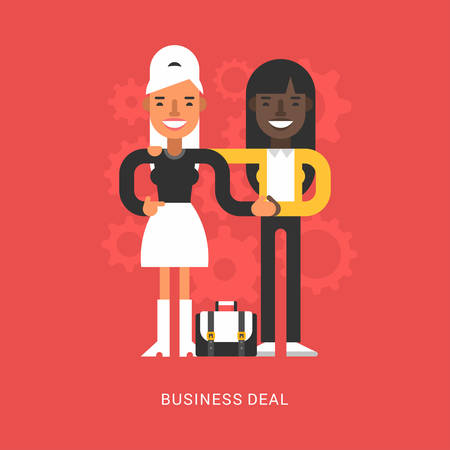 business deal: Flat Design Style Vector Illustration Concept of Successful Partnership. Business People Cooperation Agreement, Business Deal and Handshake of Two Businesswoman Isolated