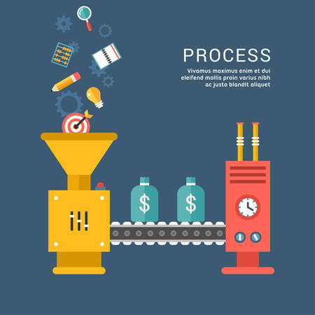 Conveyor System with Business Icons. Making Money. Cpnceptual Illustration.  Flat Style Vector Illustration