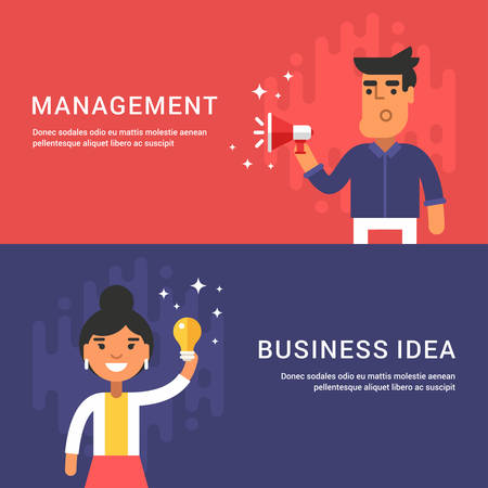 managment: Managment and Business Idea Concepts. Male and Female Cartoon Characters. Set of Web Banners. Flat Style Vector Illustrations
