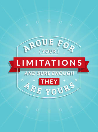 limitations: Inspirational and Motivational Quotes Typographic Poster Design in Flat Style. Vector Template for Print Design. Vector Quote, Quote Concept, Quote Background, Poster Template