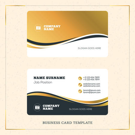 Creative Golden Business Visiting Card Vector Design Template. Vector Illustration. Stationery Design. Gold and Black Colors
