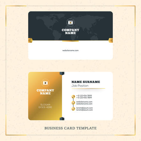 surname: Creative Golden Business Visiting Card Vector Design Template. Vector Illustration. Stationery Design. Gold and Black Colors
