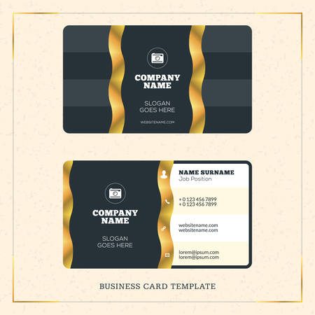 creative golden business visiting card vector design template