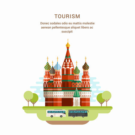 basil's: Tourism Concept Flat Style Vector Illustration. Saint Basils Cathedral. Church in Red Square in Moscow, Russia