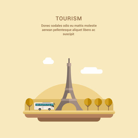 champ: Tourism Concept Flat Style Vector Illustration. The Eiffel Tower on the Champ de Mars in Paris, France