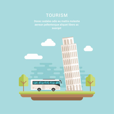 Tourism Concept Flat Style Vector Illustration. Leaning Tower of Pisa