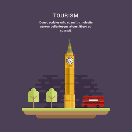 elizabeth tower: Tourism Concept Flat Style Vector Illustration. Big Ben, Elizabeth Tower in London