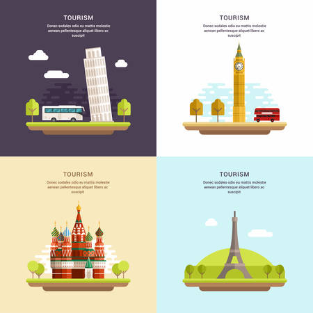 pisa cathedral: Set of Tourism Concept Flat Style Vector Illustrations. Tower of Pisa, Big Ben, Saint Basils Cathedral, The Eiffel Tower