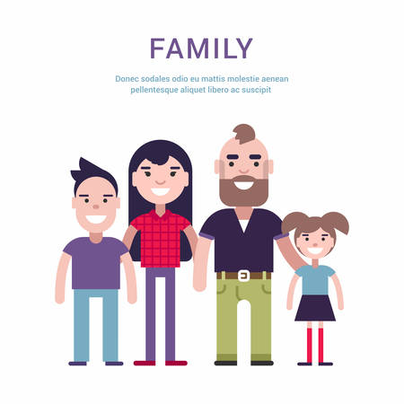 daugther: Family Concept Flat Style Vector Illustration. Father, Mother, Son and Daugther