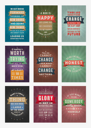 Set of Inspirational and Motivational Quotes Typographic Posters. Vector Illustration in Flat Style. Vector Quote. Poster Template 向量圖像