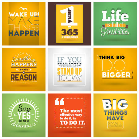 Set of Inspirational and Motivational Typographic Quote Vector Posters. Vector Typographic Background Design