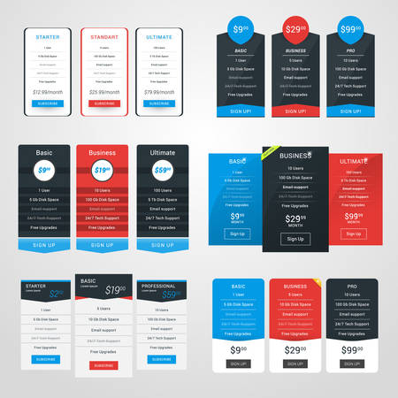 featured: Set of Pricing Table Design Templates for Websites and Applications. Flat Style Vector Illustration Illustration