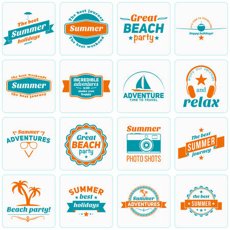 beach party: Set of Summer Holidays Design Elements. Hipster Vintage  and Badges. Beach Vacation, Party, Journey