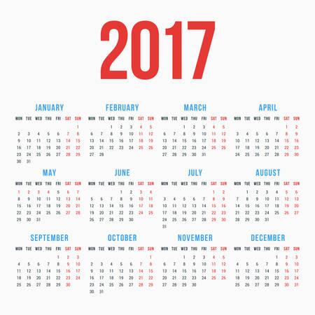 白い背景の 2017 年のカレンダーです。月曜始まり。単純なベクトル テンプレート。文房具のデザイン テンプレート