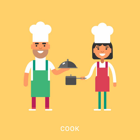 culinary skills: Male and Female Cartoon Character Chief in Uniform. Cook Concept. People Profession Concept. Vector Illustration in Flat Design Style