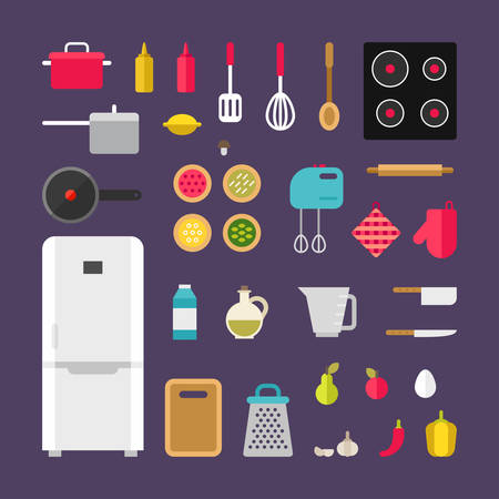 kitchen equipment: Set of Vector Icons and Illustrations in Flat Style. Kitchen Appliances and Food. Cooking Concept. Cooking Equipment