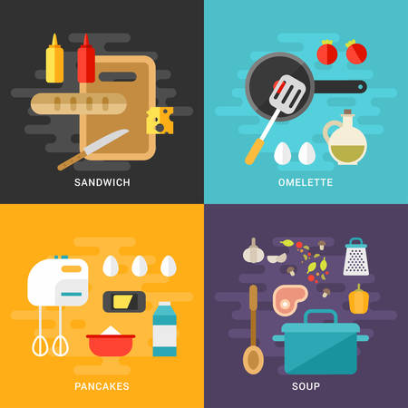 ingridients: Set of Flat Style Vector Illustrations. Cooking Concept. Ingridients and Kitchen Appliances. Sandwich, Omelette, Pancakes, Soup.  Cooking Equipment