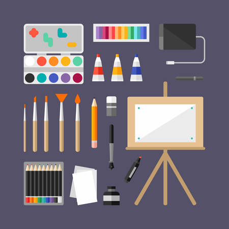 art supplies: Set of Art Supplies, Art Instruments for Painting, Drawing, Sketching. Flat Design Vector Illustration
