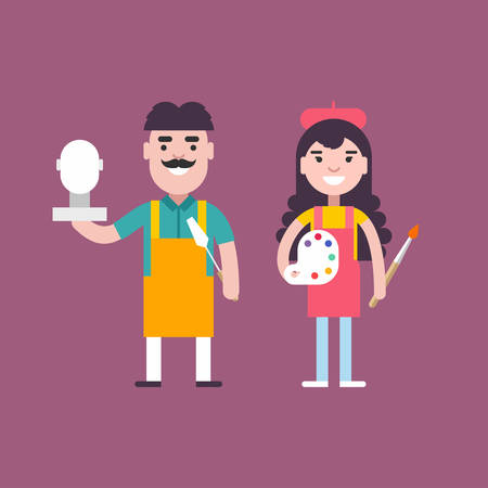 carver: Male and Female Cartoon Character Sculptor and Painter. People Profession Concept. Vector Illustration in Flat Design