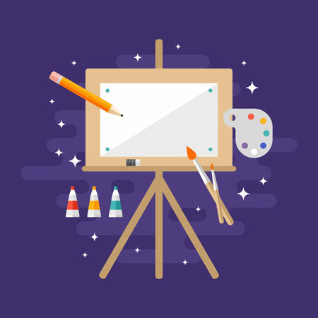 blank canvas: Wooden Easel with a Blank Canvas. Flat Style Vector Illustration. Profession Concept Painter Illustration