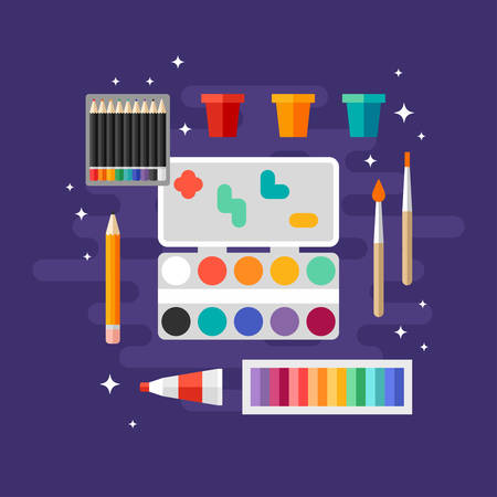 art supplies: Set of Art Supplies, Art Instruments for Painting, Drawing, Sketching. Paints and Brushes. Flat Design Vector Illustration Illustration