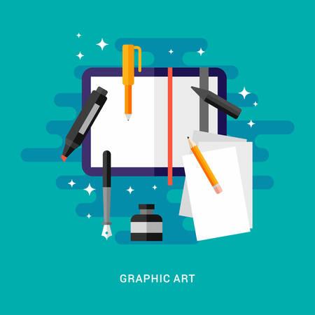연필, 펜 및 마커와 빈 스케치 북. 그래픽 아트 개념적 그림입니다. 플랫 스타일 벡터 일러스트 레이션 일러스트
