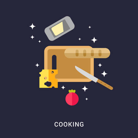 cheese bread: Cooking Concept. Cutting Board with Cheese, Bread, Butter and Tomato. Flat Style Vector Illustration Illustration