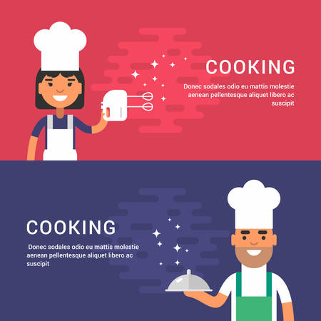 cook hats: Cooking Concept. Set of Flat Style Vector Illustrations for Web Banners or Promotional Material. Male and Female Cartoon Character Chief in Uniform