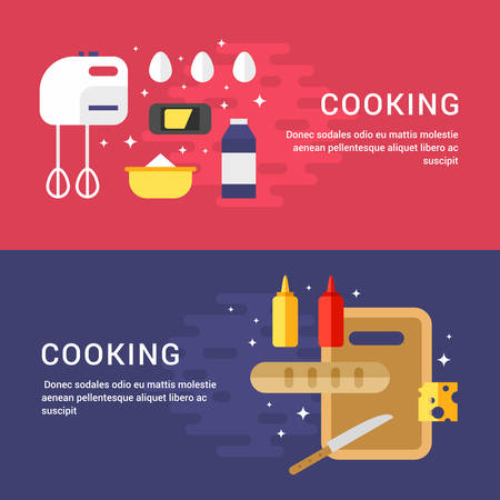 ingridients: Cooking Concept. Set of Flat Style Vector Illustrations for Web Banners or Promotional Material. Ingridients and Kitchen Appliances. Sandwich and Pancakes