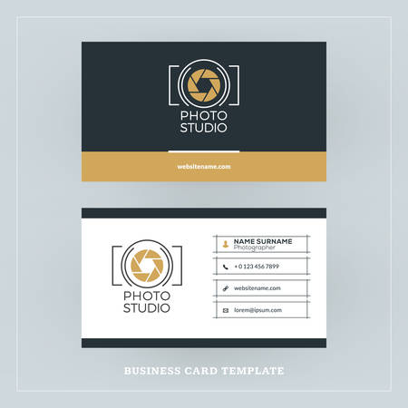 Golden and Black Business Card Design Template. Business Card for Photographer or Graphic Designer. Photo Studio Logotype Template. Vector Illustration. Stationery Design Stock Illustratie