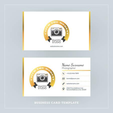 Golden and Black Business Card Design Template. Business Card for Photographer or Graphic Designer. Photo Studio Logotype Template. Vector Illustration. Stationery Design Иллюстрация