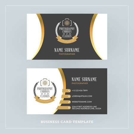 surname: Golden and Black Business Card Design Template. Business Card for Photographer or Graphic Designer. Photo Studio Logotype Template. Vector Illustration. Stationery Design Illustration