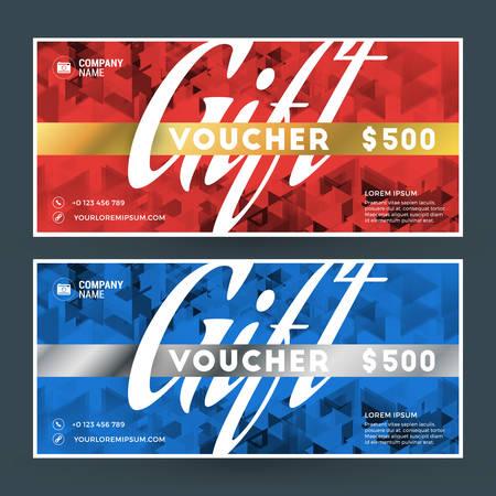 restaurant bill: Golden and Silver Gift Voucher. Vector Design Print Template. Gift Certificate. Coupon, Ticket Template. Vector Illustration