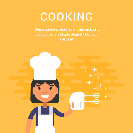 culinary skills: Female Cartoon Character Chief with Mixer. Cooking Concept. People Profession Concept. Vector Illustration in Flat Style